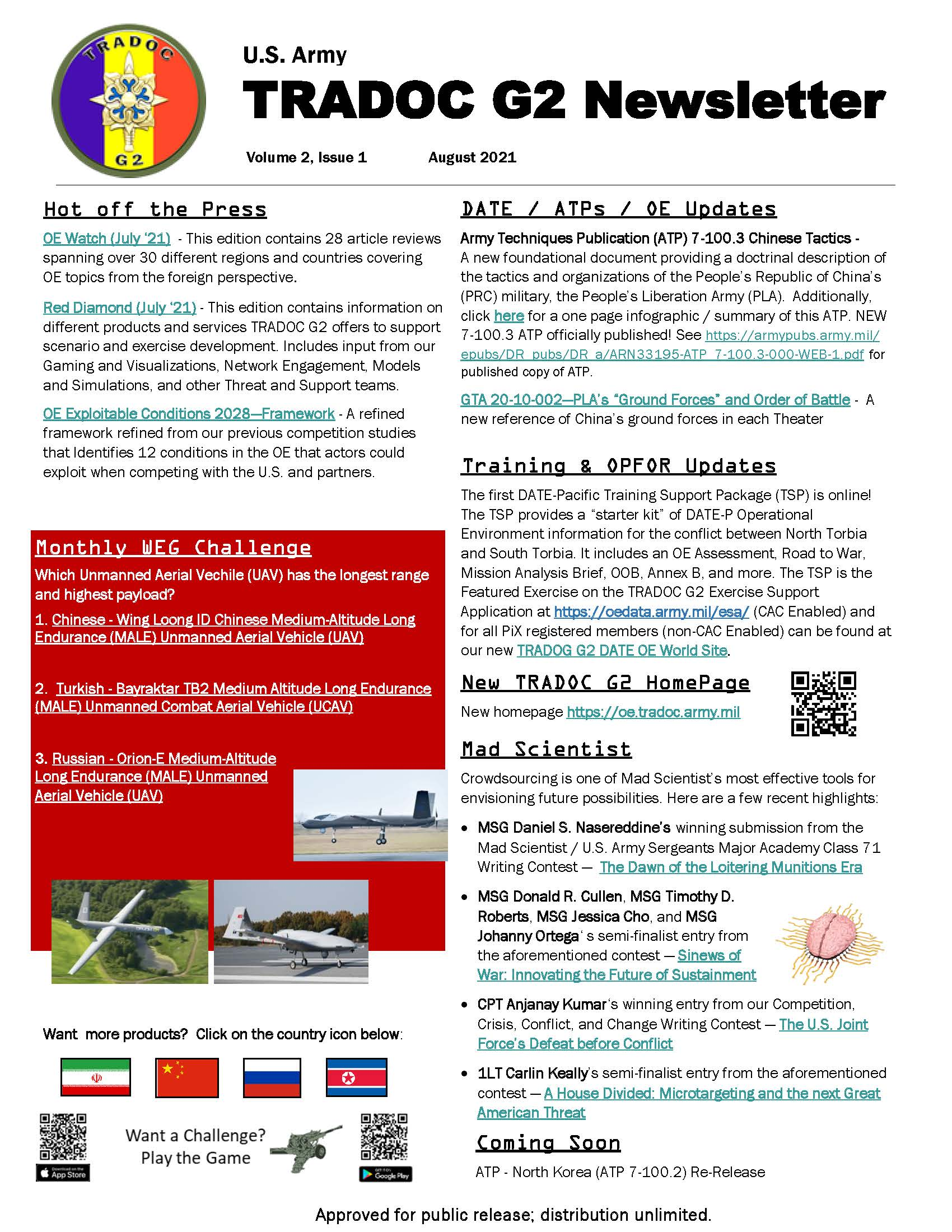 Read more about the article TRADOC G2 Newsletter August 2021 Vol. II (Iss.1)